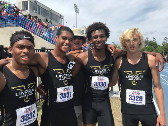 Lincoln's 4x800 relay team of Byron Jackson, Charles