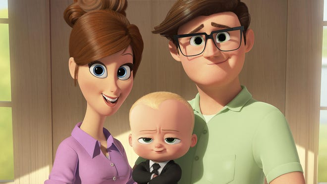 "Mother, voiced by Lisa Kudrow, from left, Boss Baby, voiced by Alec Baldwin, and Father, voiced by Jimmy Kimmel appear in a scene from the animated film, ""The Boss Baby."""