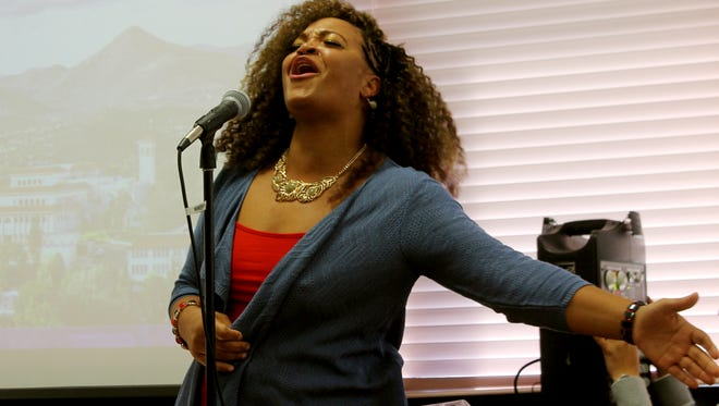 """Rachel Ross singing Martin Luther King Jr.'s favorite song """"Precious Lord"""" at the Annual Martin Luther King Jr. Ceremony at Western New Mexico University on Monday."""
