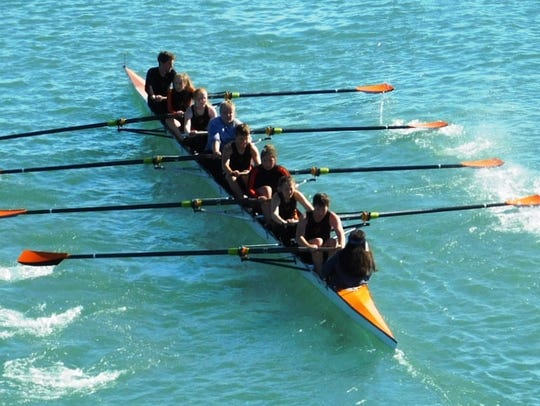 The NRC's mixed eight-plus crew, led by coxswain Sophie