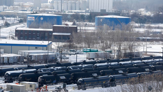 Railroad oil tanker cars are lined up Feb. 7 at Global Partners at the Port of Albany. Albany County issued a moratorium Wednesday on expansion of crude oil processing at the port on the Hudson River, pending a public health investigation.