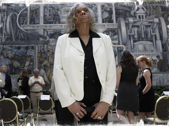 Shirley Lightsey, president, Detroit Retired City Employees Association, stands inside the DIA after the Detroit automakers pledged $26 million to the museum's portion of the grand bargain on June 9.