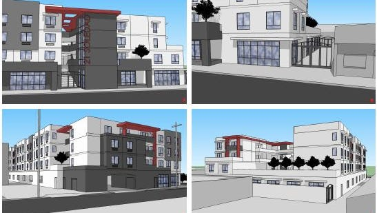 An early draft of what the MidPen Housing Project on Soledad Street would look like. The project will include artists studios.