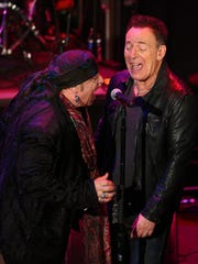 Steven Van Zandt with Bruce Springsteen at the New Jersey Hall of Fame at the Paramount Theater,  Asbury Park. May 6, 2018.