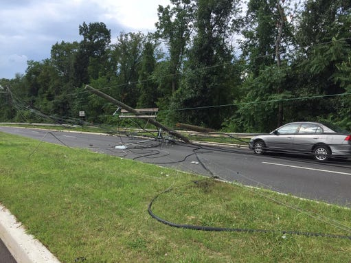 Power lines on Easton Avenue in Franklin following an accident involving a tractor-trailer.