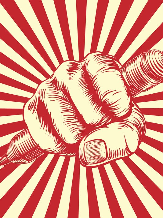 Propaganda Woodcut Pencil Fist Hand