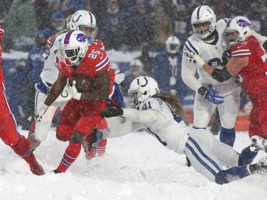 Bills running back LeSean McCoy slips a tackle by the Colts Matthias Farley and takes it 21 yards for a game-winning touchdown in a 13-7 overtime win.