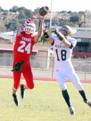 Cobre's Andru Sanchez was a one man-show Saturday against Ruidoso. He had an interception, two passing touchdowns and a rushing touchdown in the win over Ruidoso.