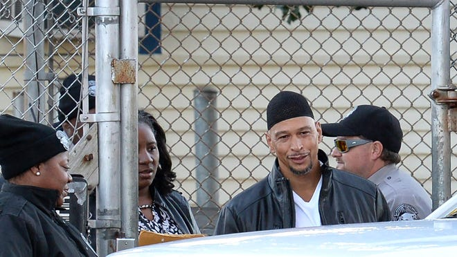 Former Carolina Panthers wide receiver Rae Carruth smiles as he exits the Sampson Correctional Institution on Monday, Oct. 22, 2018 in Clinton, N.C. (Jeff Siner/Charlotte Observer/TNS)