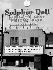 The marquee of Sulphur Dell April 7, 1956 is letting baseball fans know that the Brooklyn Dodgers and Milwaukee Braves exhibition game was the next day and the Nashville Vols opens against Chattanooga April 10th.