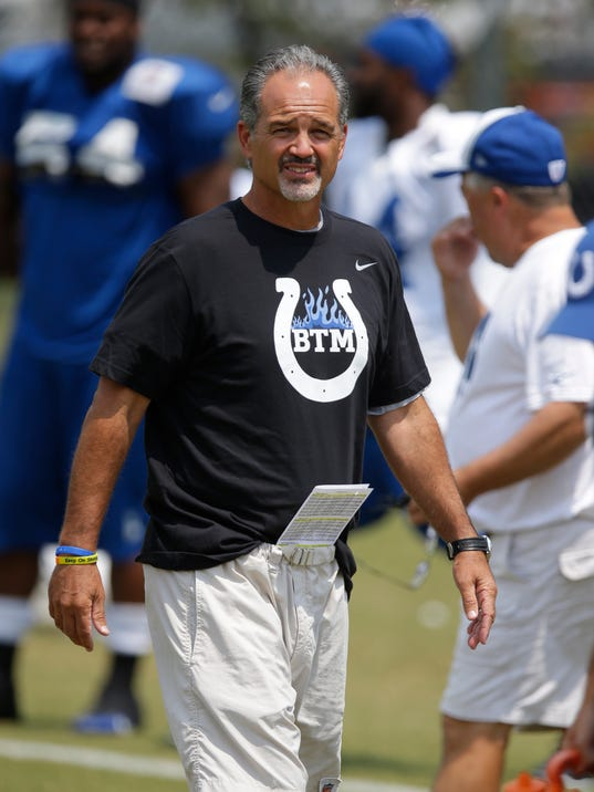Indianapolis Colts head coach Chuck Pagano watches his team during the NFL team's football training camp in Anderson, Ind., Friday, Aug. 1, 2014.  (AP Photo/Michael Conroy)