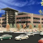 A rendering of the under-construction health and medical center at CSU. The university announced Monday it will partner with UCHealth to run the center.