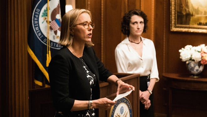 Téa Leoni is Elizabeth McCord and Bebe Neuwirth is Nadine Tolliver on 'Madam Secretary.' Neuwirth's character left the show on Sunday's episode.