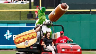 Phillies fan Kathy McVay was injured at Monday's ballgame after she was struck in the face by a flying hot dog from the the Philly Phanatic's cannon.