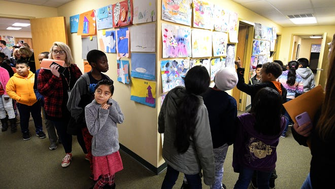 Artwork from Lonsdale Elementary School students exhibited at GRIDSMART Wednesday, Nov. 15, 2017.
