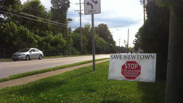 An anti-Eastern Corridor sign in Newtown.