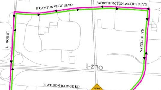 The recommended detour route around the closed crossing.