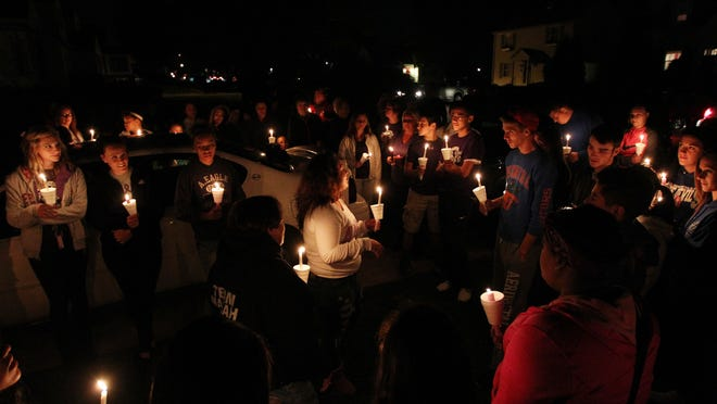 Mackenzie Bates talks about her sister, Mariah Williams, during a Wednesday vigil in Williams' memory. Williams passed away last year after a battle with brain cancer. Wednesday would have been her 18th birthday.