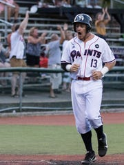 Third baseman Trace Hatfield celebrates during the Chillicothe Paints' 5-3 win over Lafayette Wednesday night.