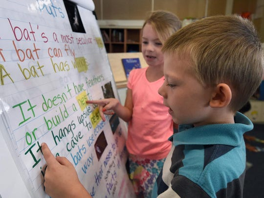 In this RGJ file photo students read from a board in a first grade classroom at Corbett Elementary School in Reno.