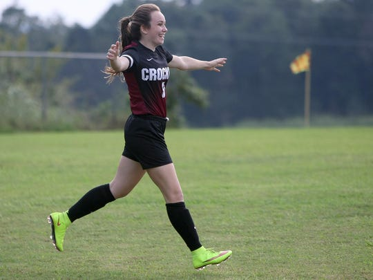 Crockett County's Jodi Butler (8) has a knack for scoring multiple goals in a majority of the Lady Cavaliers' matches.