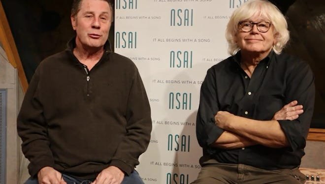 Walter Egan, right, speaks to Bart Herbison about writing 'Magnet and Steel'