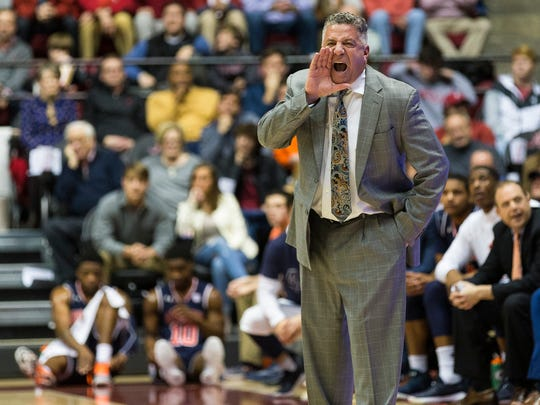 Auburn coach Bruce Pearl yells during the first half of an NCAA college basketball game against Alabama on Wednesday, Jan. 17, 2018, in Tuscaloosa, Ala.