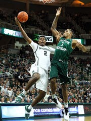 Michigan State Spartans forward Javon Bess (2) drives