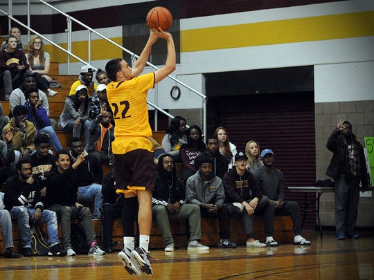 Salisbury's Justin Witmer attempts a three-point shot in a game vs. Goucher on Thursday, Nov. 15, 2016 in Maggs Gym.