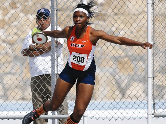 UTEP discus thrower Samantha Hall has been key for the Miners track and field team this season.