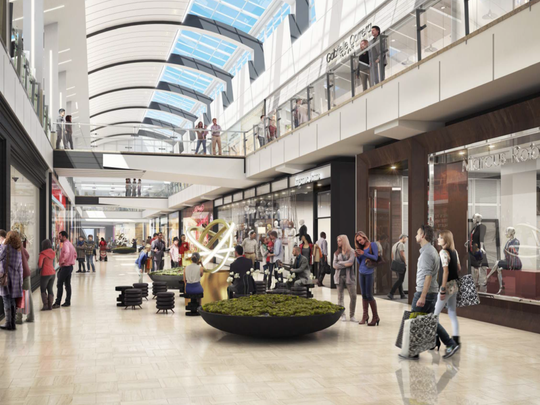 A rendering of the new hall at Westfield Garden State Plaza