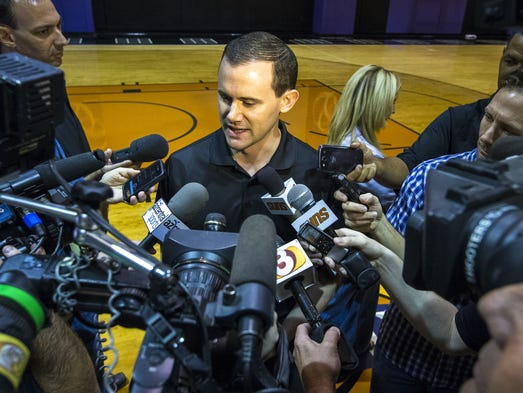 General manager Ryan McDonough talks with the media following the Phoenix Suns' pre-draft workout at US Airways Center, Friday, June 6, 2014.