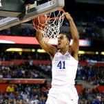 Kentucky's Trey Lyles dunks the ball to give the Cats the lead. April 4, 2015
