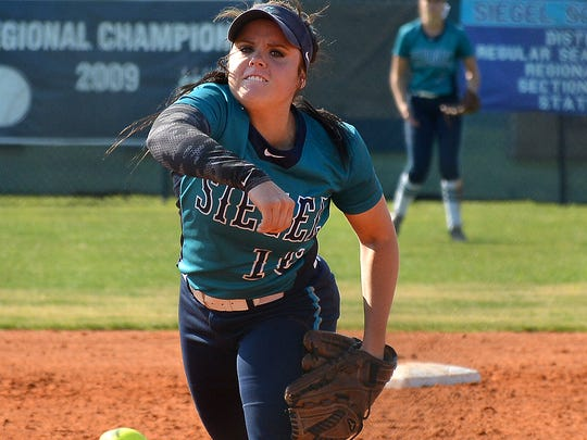 Siegel's Veronca Westfall throws a pitch in the Lady
