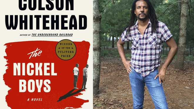 "This combination photo shows the cover of the Pulitzer Prize winning novel ""The Nickel Boys,"" left, and a portrait of author Colson Whitehead."