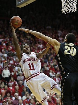 Indiana Hoosiers guard Yogi Ferrell scored over Purdue Boilermakers center A.J. Hammons Feb. 19. 2015, in the final minutes of the game at Assembly Hall in Bloomington, Ind.