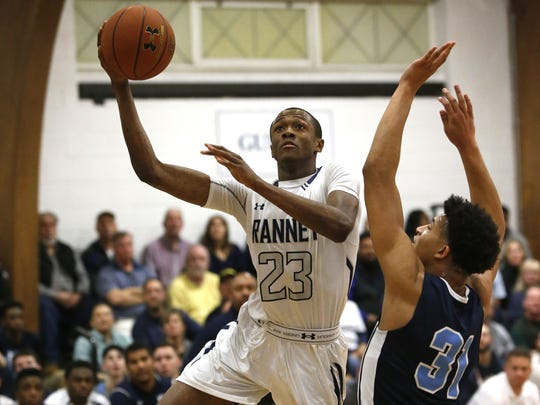 Scottie Lewis (3) of Ranney School drives to the basket during a game last season.