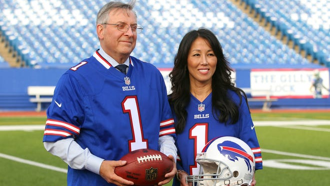 Terry and Kim Pegula, new owners of the Buffalo Bills in Ralph Wilson Stadium after  his first press conference.