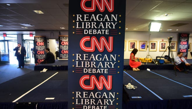 The spin room at the Ronald Reagan Presidential Library in Simi Valley, Calif.