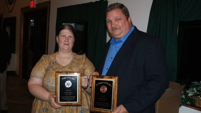 Linda Wyatt was named EMT of the Year, and John Gaden was named Firefighter of the Year at the recent Danby Volunteer Fire Department's Recognition Banquet.