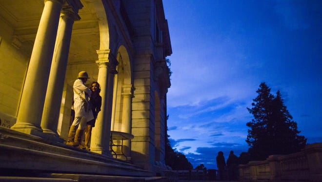 Attendees at The Center for the One Heart's annual Homecoming Festival stand on the front stairs of Swannanoa on Sept. 12, 2015.