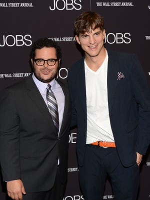 Josh Gad and Ashton Kutcher attend the 'Jobs' screening at MOMA on August 7, 2013 in New York.