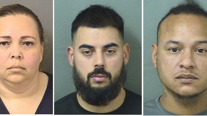 Left to right: Shoelanda Allen-Lewis, Daniel Martin Juarbe, and Alex Omar Adlersberg were booked into the Palm Beach County Jail on Jan. 30, 2020.