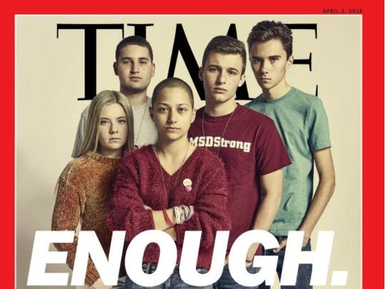 The cover for the April 2, 2018, edition of Time magazine featuring Parkland, Florida, students Jaclyn Corin, Alex Wind, Emma González, Cameron Kasky and David Hogg.