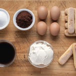 Similar to tiramisu, the ingredients for semifreddo include sugar, cocoa, eggs, espresso, whipped cream and ladyfingers.