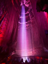 Ruby Falls is a 145-foot high underground waterfall