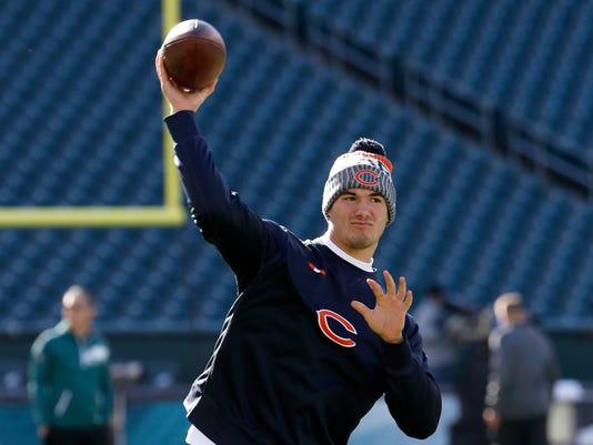 Chicago Bears' Mitchell Trubisky warms up before an NFL football game against the Philadelphia Eagles, Sunday, Nov. 26, 2017, in Philadelphia. (AP Photo/Chris Szagola)