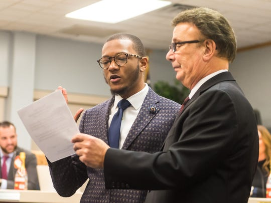 Cedric Holmes is sworn into the Vineland Public School Board as part of the 2018 reorganization at the Vineland Public School Board Headquarters on Wednesday, January 3.