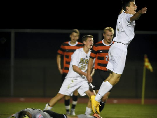 Elco sophomore Mason Bennetch (3) celebrates after scoring a game-winning goal Monday in the 67th minute of a 2-1 win over Palmyra.