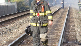 Firefighters battled multiple brush fires after a work train riding on NJ Transit tracks went through town, apparently dragging something that created sparks